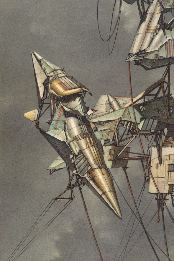 Architectural Geomagnetic Flying Machines (1989) by Lebbeus Woods