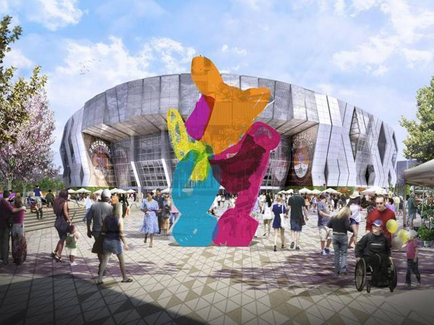 A rendering of the Sacramento Kings stadium, with Koons' Coloring Book sculpture in the foreground