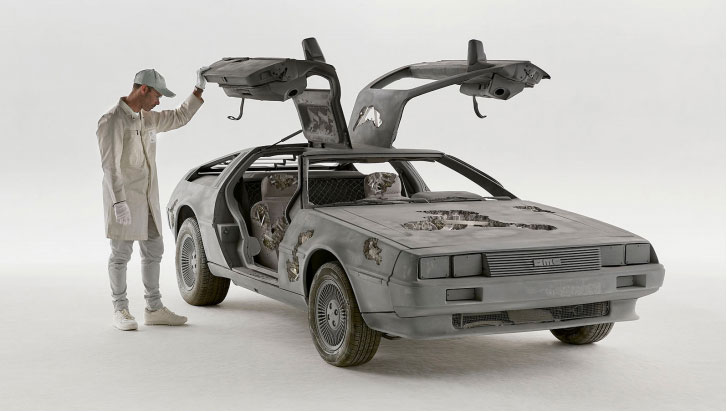 Eroded Delorean, 2018. Stainless steel, glass reinforced plastic, quartz crystal, pyrite, paint, 114 x 421.6 x 185.7 cm | 44 7/8 x 166 x 73 1/8 in. Photo by Guillaume Ziccarelli. Courtesy of the artist & Perrotin.