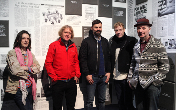 Jeremy Deller, Grayson Perry, Ingar Dragset, Michael Elmgreen and Bob & Roberta Smith (left to right) at the opening of Fourth Plinth: Contemporary Monument Photo: James O'Jenkins
