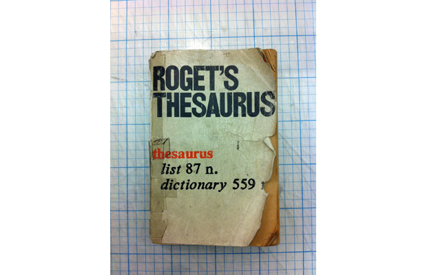 Derek Birdsall, Roget's Thesaurus cover (Photo of original by Andy Stevens)