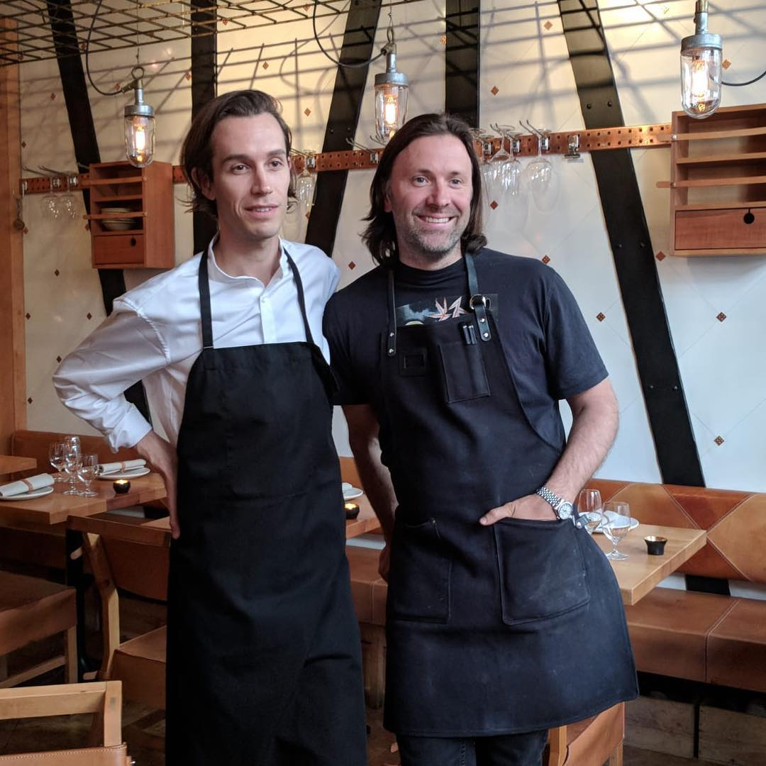 Fredrik Berselius with fellow chef Niklas Ekstedt in Stockholm