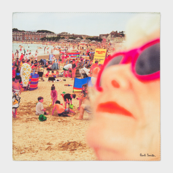 Men's Martin Parr 'Beach' Photo-Print Silk Pocket Square by Paul Smith. Image courtesy of PaulSmith.com
