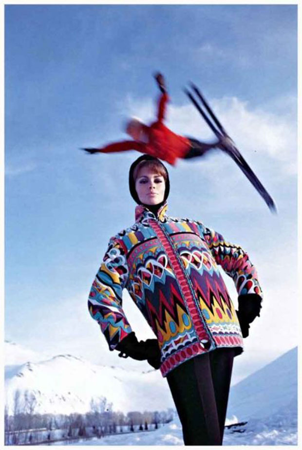 Astrid Heeren in Pucci Ski Jacket photographed by Peter Beard, American Vogue 1964 as featured in Phaidon's The Fashion Book