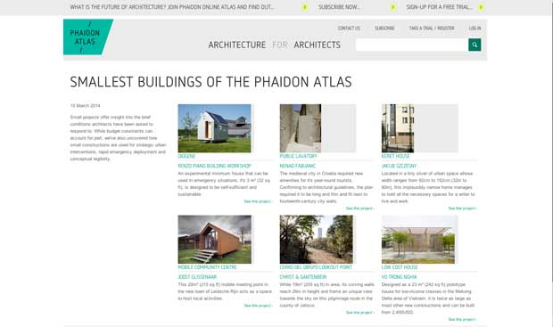The smallest buildings of the Phaidon Atlas