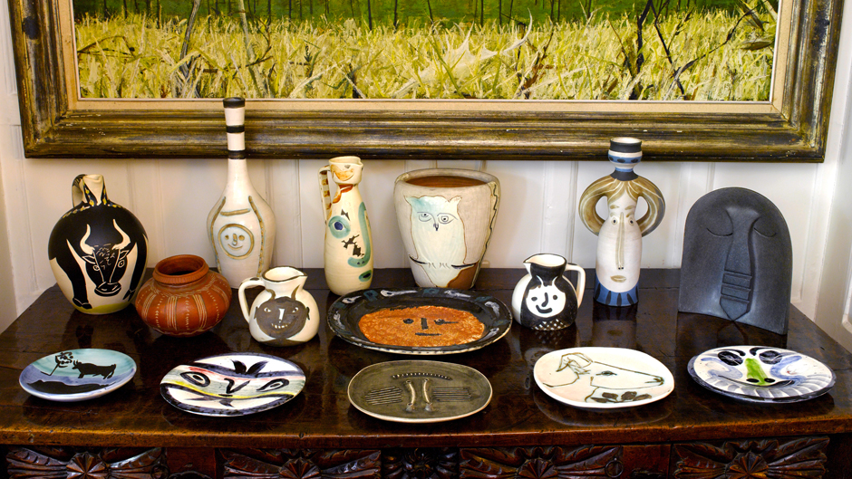 A selection of vases, plates and jugs in situ at Old Friars, Richard Attenborough's home, showing the breadth of Picasso's ceramic designs and the diversity of the Attenborough's collection. Image courtesy of Sotheby's