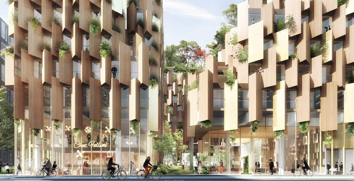 Kengo Kuma & Associates' renderings for 1hotel. Images courtesy of Kengo Kuma & Associates