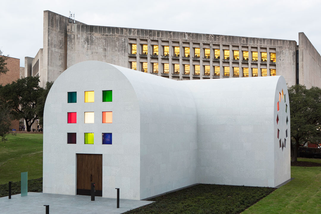 Ellsworth Kelly, Austin, 2015 (Southeast view) Artist-designed building with installation of colored glass windows, marble panels, and redwood totem 60 ft. x 73 ft. x 26 ft. 4 in. ©Ellsworth Kelly Foundation Photo courtesy Blanton Museum of Art, The University of Texas at Austin