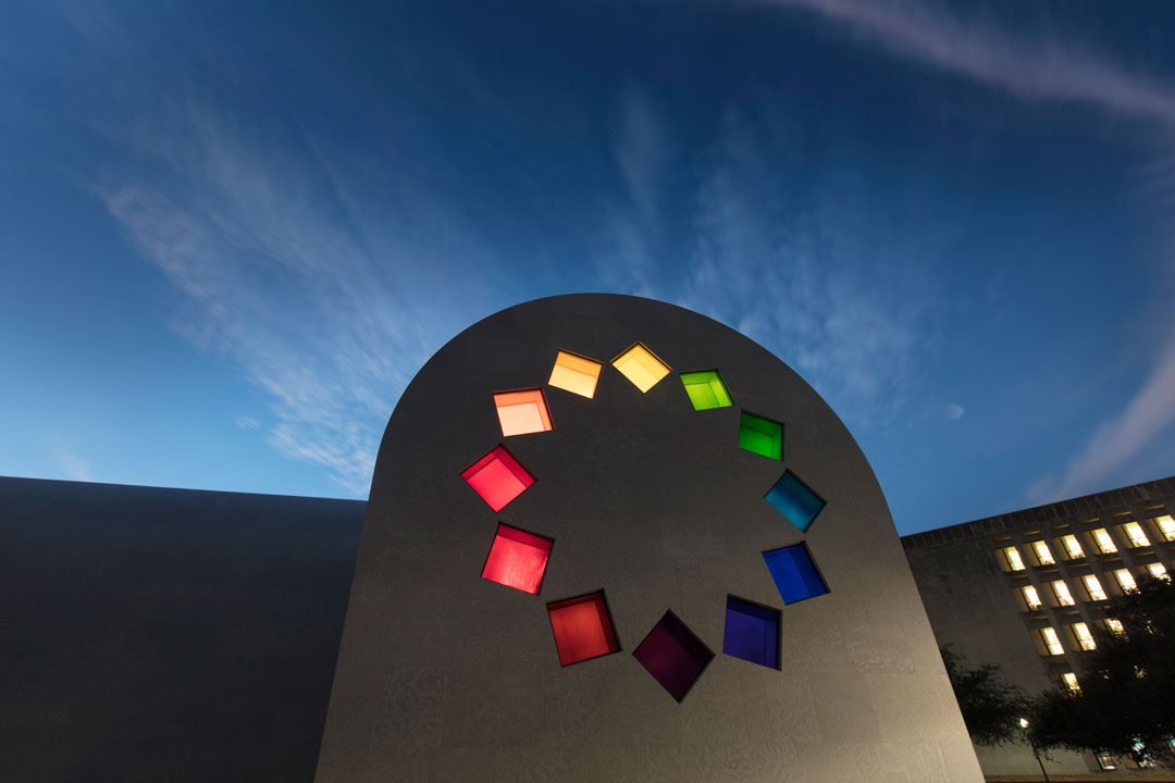 Ellsworth Kelly, Austin, 2015 (East façade) Artist-designed building with installation of colored glass windows, marble panels, and redwood totem 60 ft. x 73 ft. x 26 ft. 4 in. ©Ellsworth Kelly Foundation Photo courtesy Blanton Museum of Art, The University of Texas at Austin