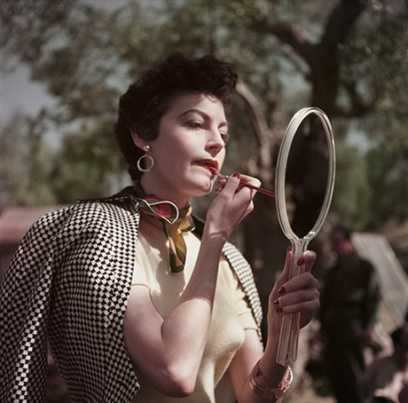 Ava Gardner on the set of The Barefoot Contessa, Tivoli, Italy, 1954, from Capa In Color