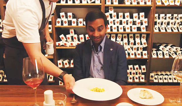 Aziz Ansari at Osteria Francescana in series two of Master of None. Image courtesy of Netflix