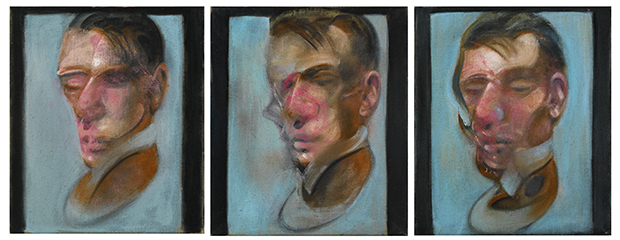 Francis Bacon, Three Studies for Self-Portrait, 1980, oil on canvas, each: 35.5 by 30.5cm est. £10-15 million. Image courtesy of Sotheby's