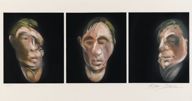 Francis Bacon,  Three Studies for a Self Portrait, 1983 Lithograph on Arches paper, 1990  94.5 X 52cm  Signed and numbered from the edition of 60.  Published by Michel Archimbaud for the Librairie Séguier, Paris and printed by Art Estampe, Paris Courtesy: Winwood Gallery.