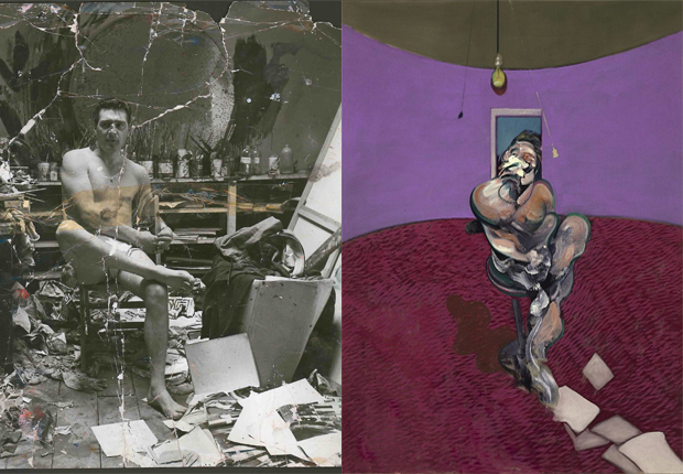From left: George Dyer in the Reece Mews Studio (c. 1964) by John Deakin, Portrait of George Dyer Talking (1966) by Francis Bacon