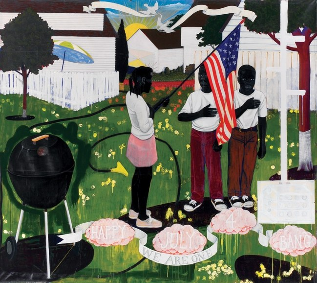 Bang (1994) by Kerry James Marshall. Courtesy the Artist and the Progressive Corporation. As featured in Kerry James Marshall: Mastry, organised by The Museum of Contemporary Art, Los Angeles, the Museum of Contemporary Art Chicago, and The Metropolitan Museum of Art, New York.