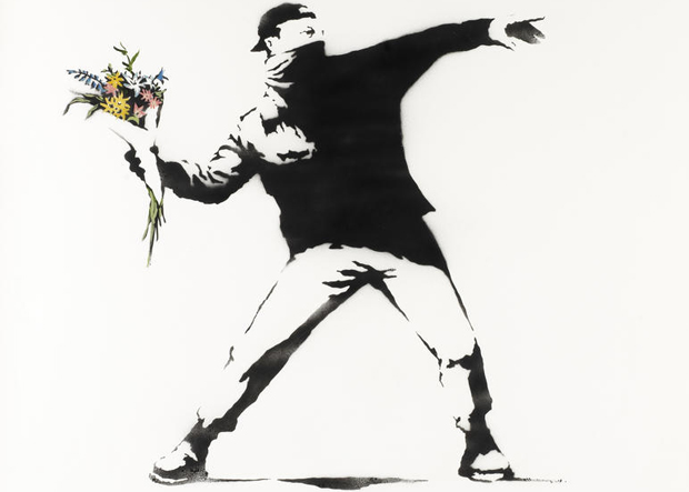 Love Is In The Air (2006) by Banksy