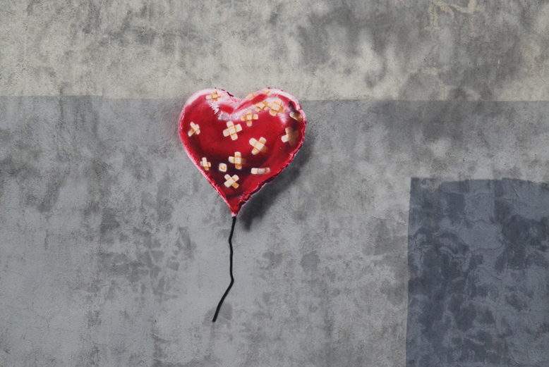 Banksy's heart-shaped balloon, in Red Hook, New York, earlier this month.