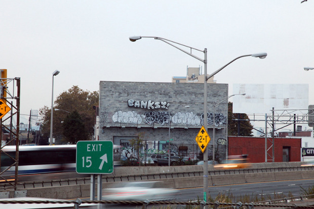 Banksy's balloon lettering, his final New York piece