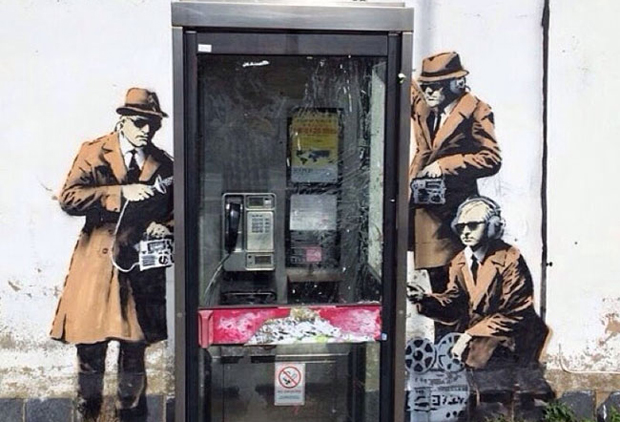 Banksy's surveillance-themed work in Cheltenham