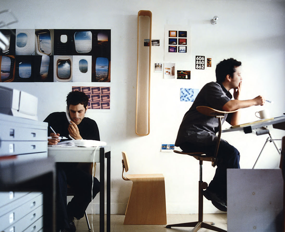 Edward Barber and Jay Osgerby in the studio with early plywood prototypes from Isokon, Flat 167, Trellick Tower, London, 1998