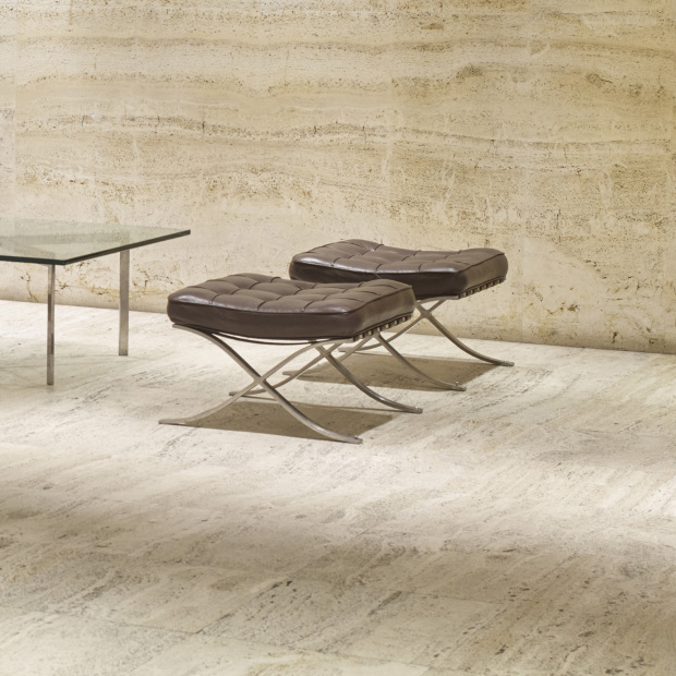 Two Barcelona ottomans by Mies van der Rohe. Image courtesy of Wright