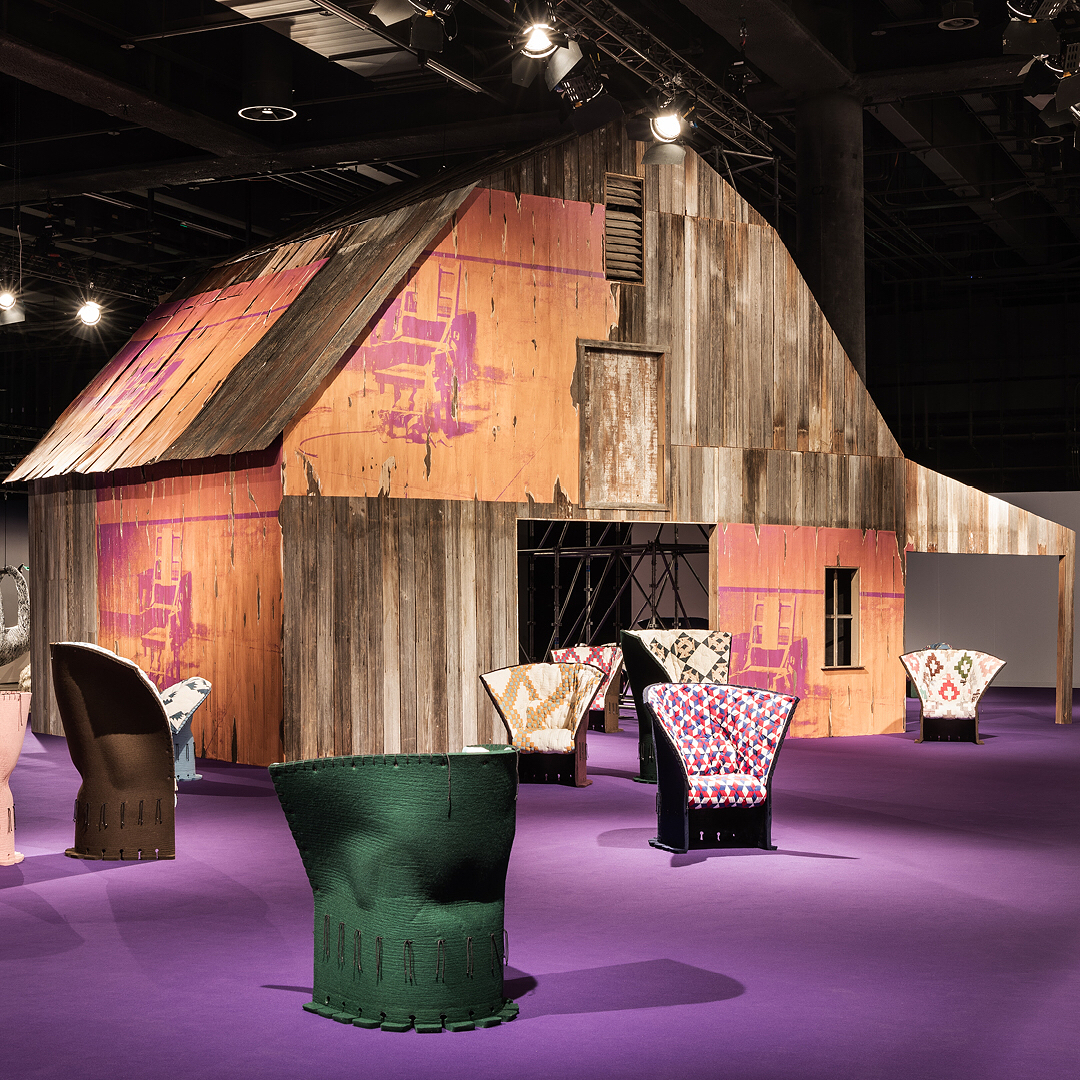 Calvin Klein's debut installation at the Design Miami/ International Design Fair in Basel, Switzerland, as envisioned by Chief Creative Officer Raf Simons, featuring the I Feltri armchair, originally created by Gaetano Pesce. Image courtesy of Calvin Klein's Instagram