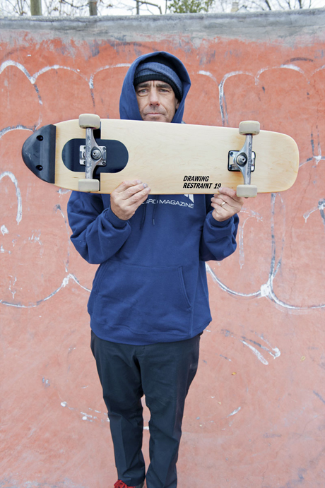 Lance Mountain with Matthew Barney's board, by Joe Brook, courtesy of Juxtapoz Magazine