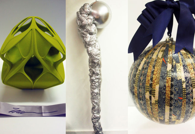 From left: Zaha Hadid's Christmas bauble; Matthew Collishaw's Christmas bauble; Gwyneth Paltrow's Christmas bauble