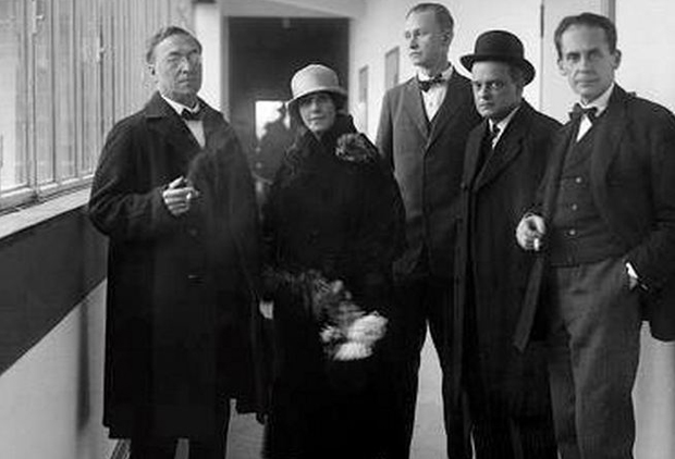 Inauguration of the new Bauhaus. Left to Right: Wassily Kandinsky, Nina Kandinsky, Georg Muche, Paul Klee, Walter Gropius, Dessau