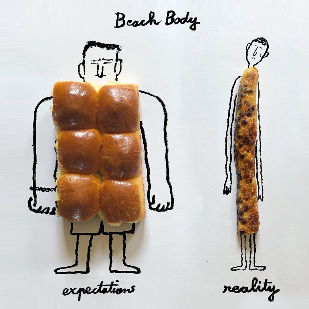 Jean Jullien's take on the fantasy and the reality of beach body preparation