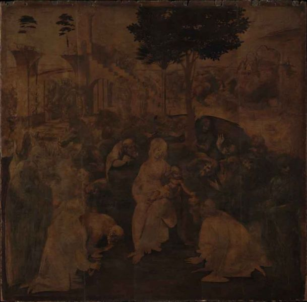 The Adoration of the Magi (1481-2) by Leonardo da Vinci, before its recent restoration