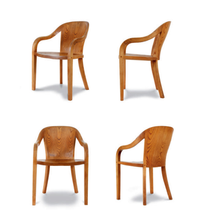 The 1550 University carved-wood frame armchair was first designed for the LBJ Library at the University of Texas. It is carved from solid blocks of wood, then meticulously joined and finished.