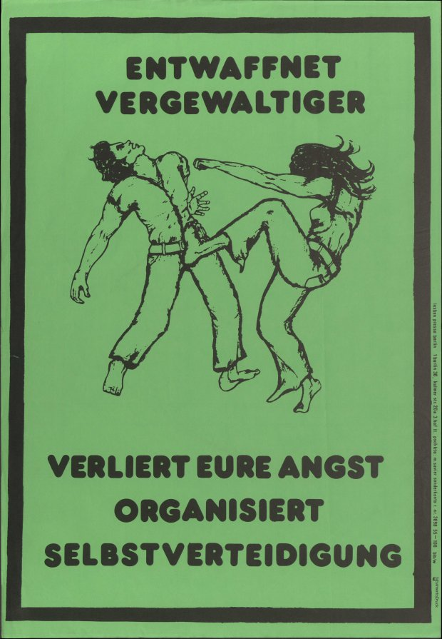 Disarmed rapist post from Women's Center Berlin © archive FFBIZ Berlin 1974. From Homosexuality_ies