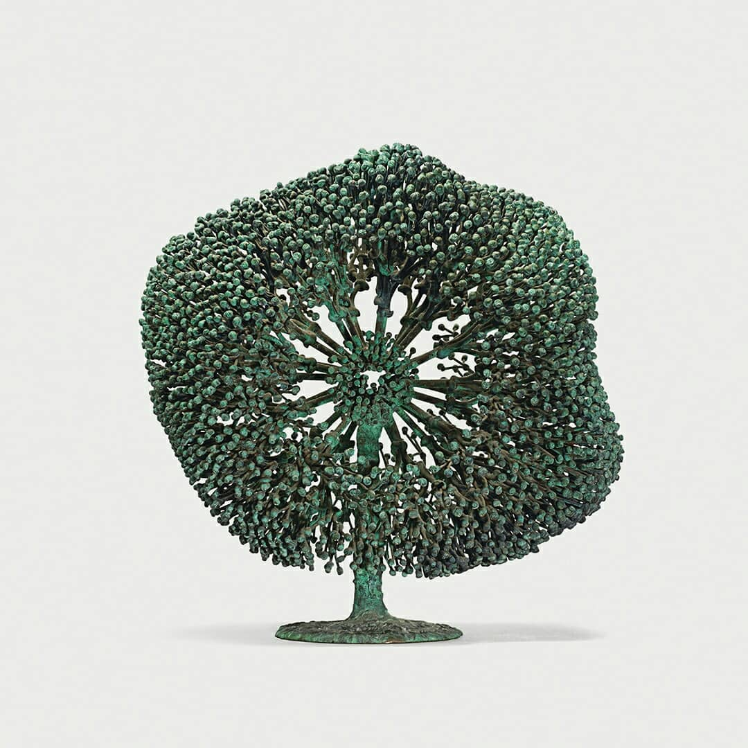 Untitled (bush form), c. 1970. Welded copper and bronze with applied patina. 161/2 x 161/2 in.  (41.9 x 41.9 cm). Images courtesy and copyright © 2019 Estate of Harry Bertoia / Artists Rights Society (ARS), New York/ Images courtesy of Wright.