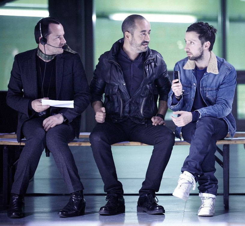 From left: Alexandre de Betak, Saif Mahdi and  Anthony Vaccarello. Photo by Daniel Beres for Bureau Betak