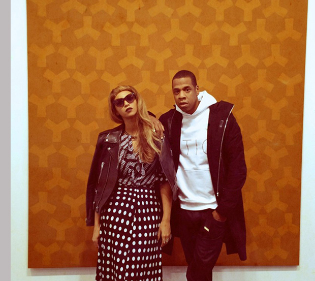 Beyoncé and Jay-Z in front of Brown/Brown Y (1965) by Rosemarie Castoro, at Broadway 1602's booth in Frieze Masters. Image courtesy of Broadway 1602