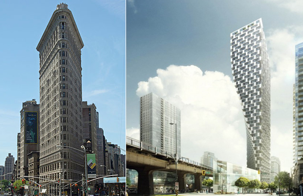 The Flatiron building in New York, BIG architects, Beach + Howe Tower, Vancouver