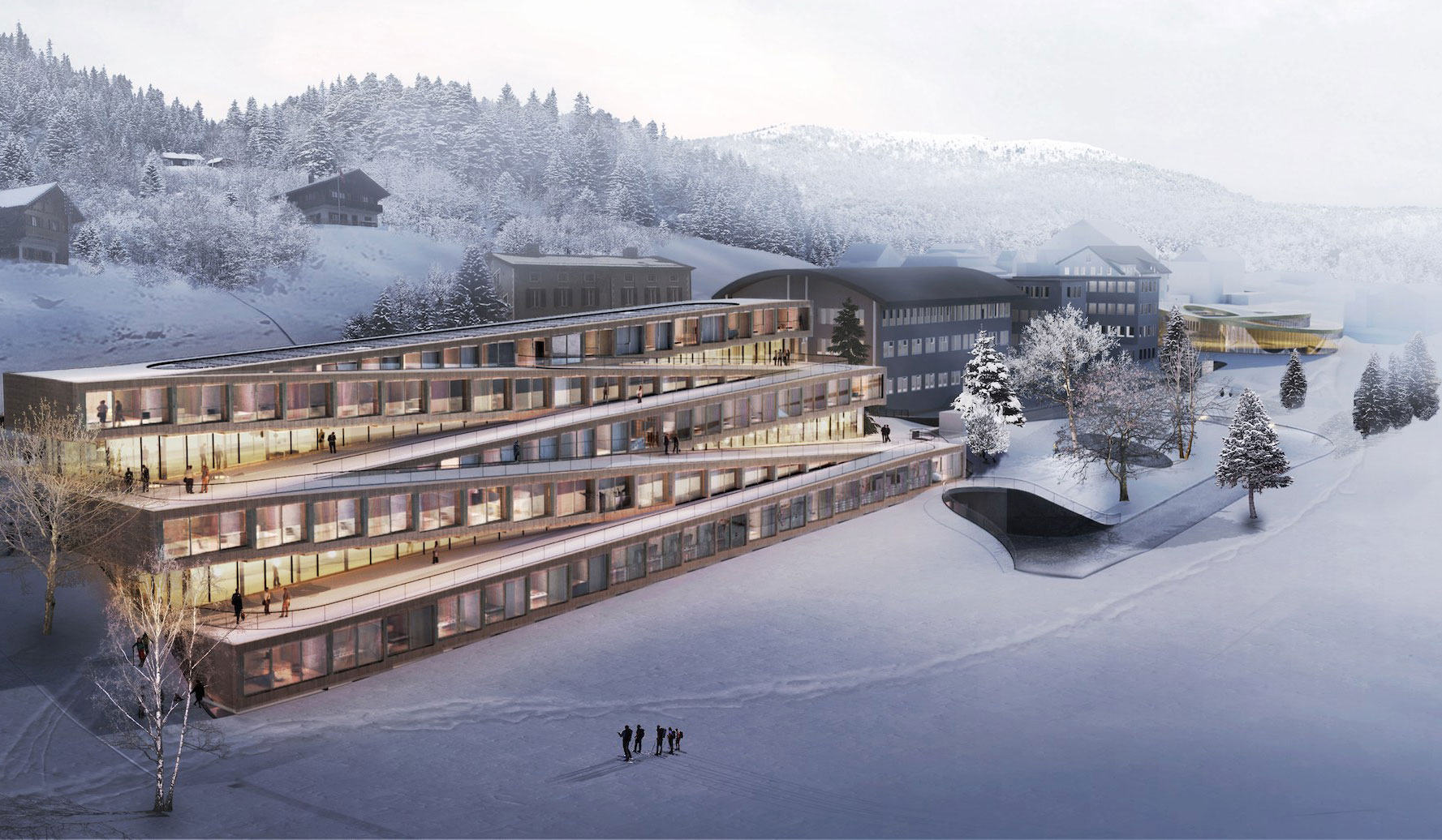 A rendering of the Audemars Piguet Hotel des Horlogers by Bjarke Ingles Group. Image courtesy of BIG.dk
