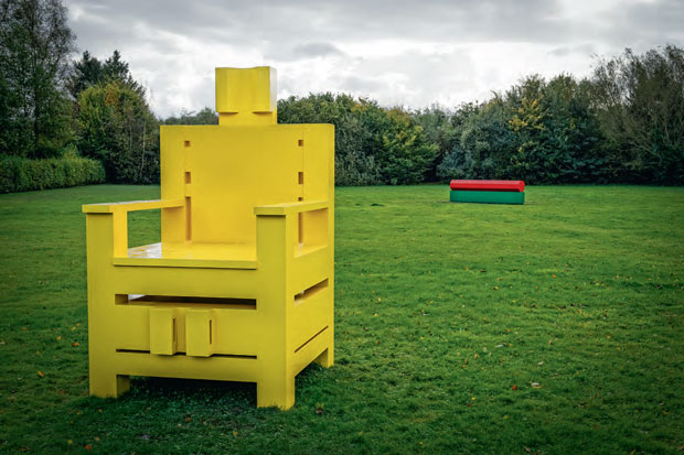 Big Yellow Mama (2013) by Sterling Ruby, installed, alongside Stop Block (background, 2013) at Museum Dhondt-Dhaenens, Ghent, Belgium, 2014. As reproduced in our new Sterling Ruby book
