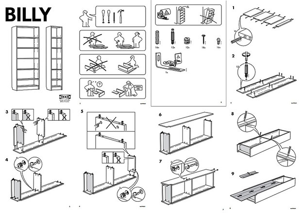 Look familiar? IKEA's Billy Bookcase plans - bang goes another Sunday afternoon
