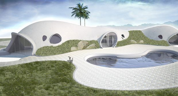 A Binishell resort as rendered by Binishells