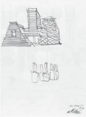 A sketch by architect Frank Gehry, given to Philip for his seventy-fifth birthday.