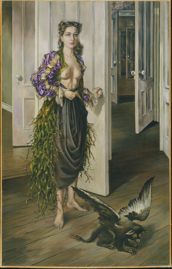 Birthday, 1942, Dorothea Tanning, American, 1910?2012, Oil on canvas, 40 1/4 x 25 1/2 inches (102.2 x 64.8 cm). Philadelphia Museum of Art, © Artists Rights Society (ARS), New York / VG Bild?Kunst, Bonn
