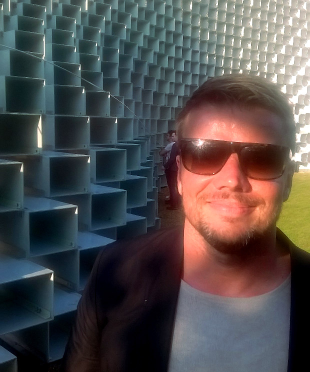 Architect Bjarke Ingels photographed June 8 in front of the Serpentine Pavilion 2016 designed by Bjarke Ingels Group (BIG)