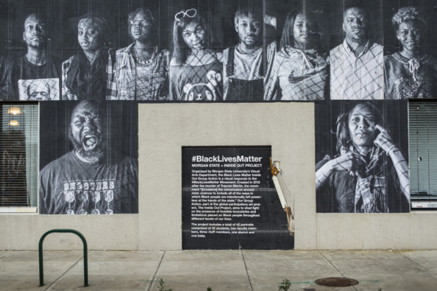 Morgan State University's Inside Out project, #BlackLivesMatter, at 1400 Greenmount Ave, Baltimore. Photography by Kelli Williams and Christopher Metzger