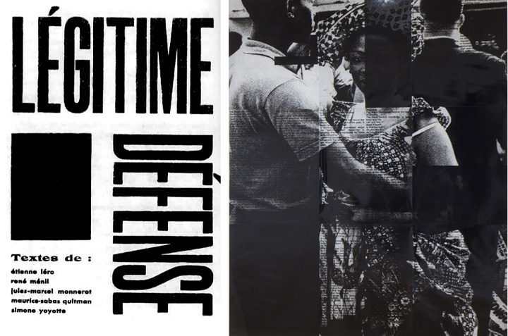 Left: Cover of Légitime Défense (Self-Defense) journal, 1932. Right: Adam Pendleton with Jaan Evart and Marc Hollenstein, Black Dada (Ian Berry, couple dancing, independence celebration Congo, 1960), 2008/2012, courtesy of Performa 13