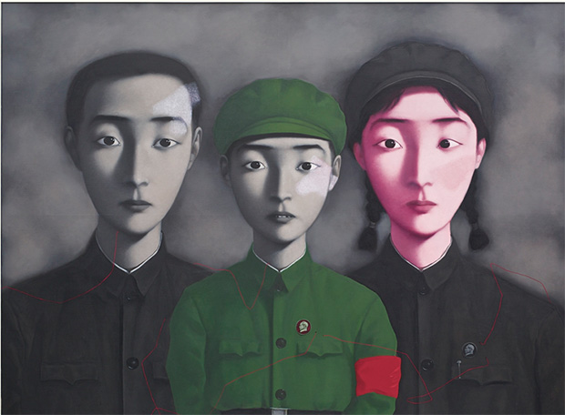 Bloodline: Big Family No. 3 (1995) by Zhang Xiaogang sold at Sotheby's in Hong Kong 5 April 2015, for HK$94.2 million/US$12.1 million, setting a world auction record for the artist