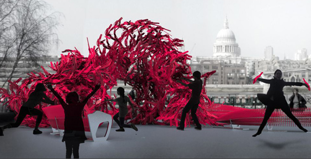 Bloom by Alisa Andrasek and Jose Sanchez from The Bartlett School of Architecture at UCL.