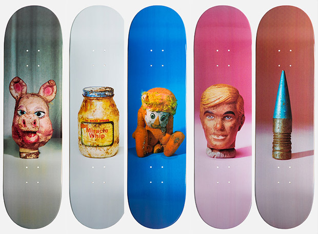Five boards from Paul McCarthy's PROPO series. Image courtesy of theskateroom.com