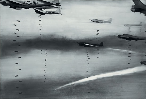 Bomber (1963) by Gerhard Richter, oil on canvas, 130 x 180 cm (51¼ x 70¾ in) Städtische Galerie, Wolfsburg, Germany. As reproduced in Chromaphilia